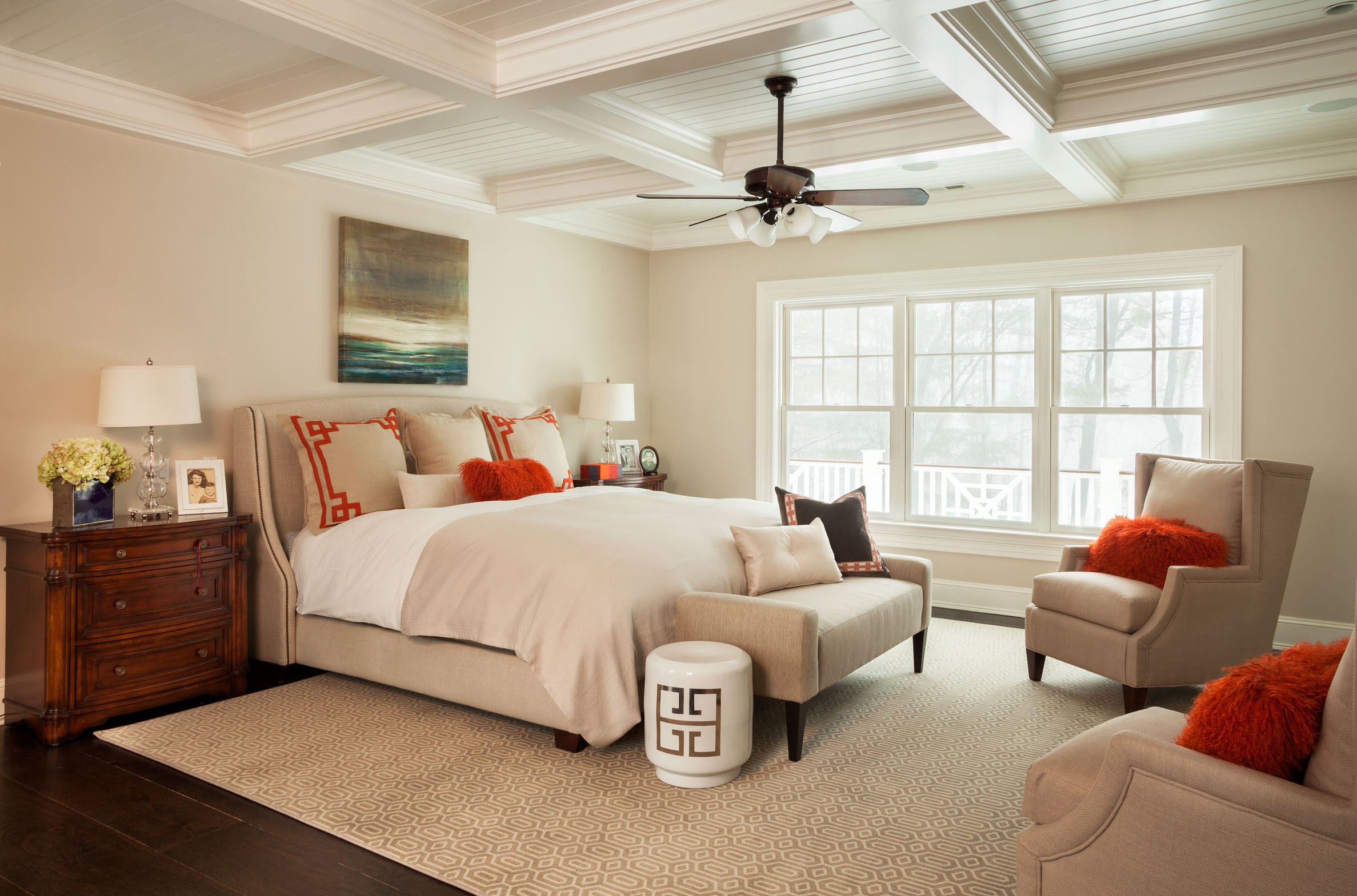 New Canaan – Master Bedroom with Orange Accents – Garrison Hullinger ...
