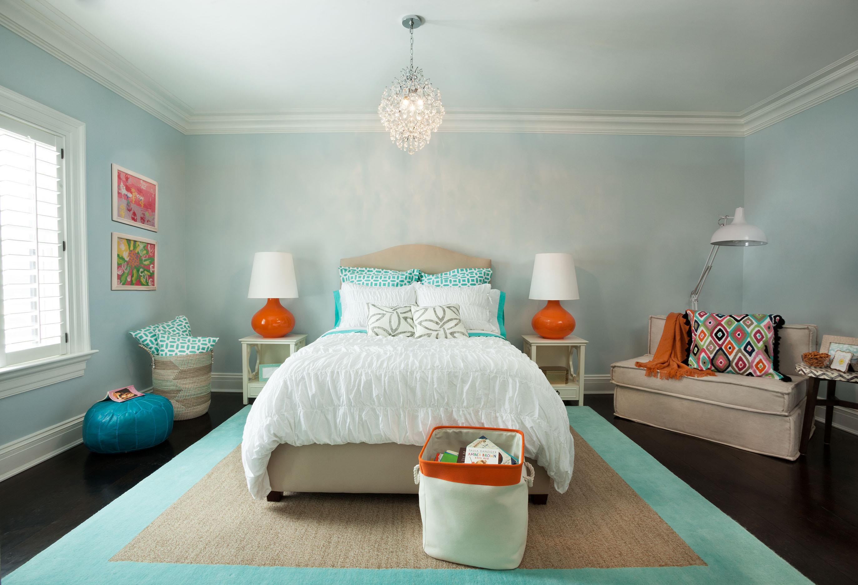 . New Canaan   Sky Blue   Tangerine Bedroom   Garrison Hullinger
