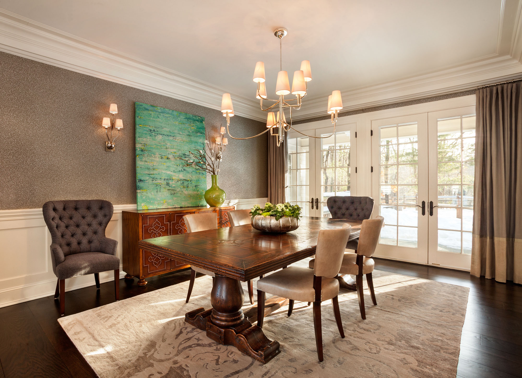 The Formal Dining Room French Doors Open To Pool