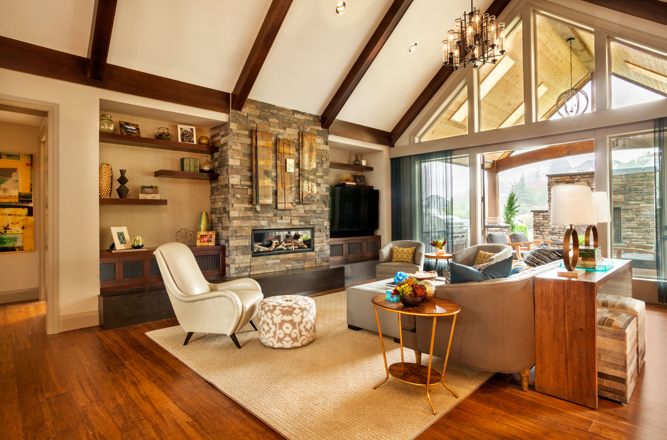 The family room features carefully selectioned decor